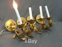 4 Vintage French Gilt Candelabrum Wall Light Lamp Sconces Foliate Design