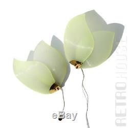 50s PAIR Mid-Century Modern Wall Lights Lamps Sconces Brass Green Wings Vintage