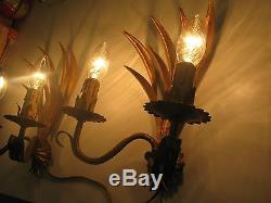 5 Gilded tole wall sconces gold french Mid Century vintage antique