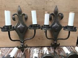 6 antique french fleur de lis gothic wall brass wall sconces Hand Hammered