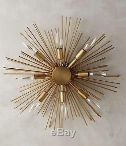 $898 New Anthropologie Gold Starburst Wall Sconce Lighting