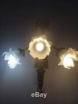 ANTIQUE Exquisite French pair of wall sconces each 3 light