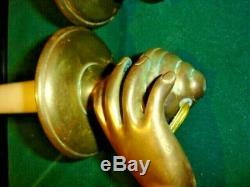 ANTIQUE FRENCH BRONZE WOMAN HANDS FIGURINE sconces wall lights