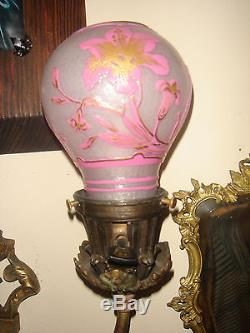ANTIQUE FRENCH LARGE BRONZE WALL SCONCE LIGHT LAMP WithLEGRAS CAMEO GLASS SHADES