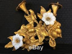 ANTIQUE FRENCH ORMOLU GILT Metal WALL DECOR LIGHT SCONCE OPALINE GLASS FLOWERS