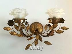 ANTIQUE VTG ITALIAN GOLD METAL TOLE SCONCE WALL LAMP w GLASS FLOWER PETAL SHADE