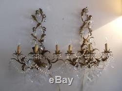 ANTIQUE VTG ITALIAN GOLD TOLE CHANDELIER SCONCE WALL LAMP PAIR w FRENCH CRYSTALS
