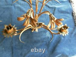ANT VTG PAIR ITALIAN FLORAL TOLE WALL SCONES With LIGHTS HOLLYWOOD REGENCY STYLE