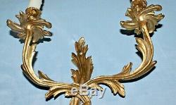 A Nice Pair of Vintage French Louis XV Style Brass Wall Sconces