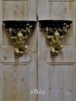 A Pair Of Empire Style Opulent Gold & Black Monkey Ape Wall Sconce Shelf