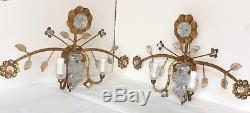 A pair of vintage Sherle Wagner Chrystal sunflower wall sconces