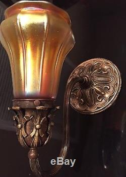 Amazing Pair Of Wall Sconces/Lamps with Steuben Gold Shades Quezal Tiffany Era