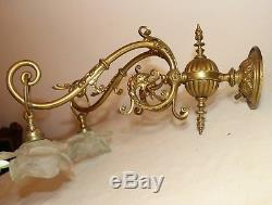 Antique 1800's ornate Victorian figural griffin gilt bronze wall sconce brass