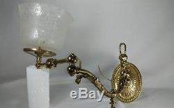 Antique 1900's Victorian Brass Cherub gasolier electrified gas wall sconce light
