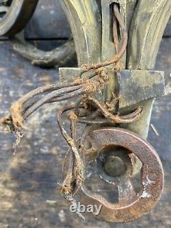 Antique 19thC Bronze Three Arm Wall Sconces Acanthus Design Electrified