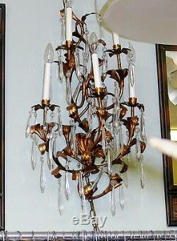 Antique 36 Italian Crystal Tole Gold Gilt Wall Sconce Candelabra Electric 5 Arm