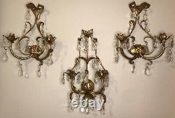 Antique 3 Piece Italian Gilt Gold Tole Wall Sconce Dripping in Crystals Prisms
