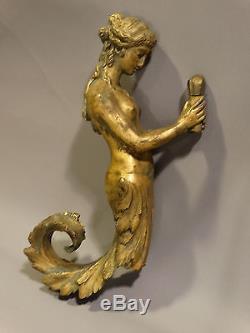 Antique ART NOUVEAU Era BRONZE Figural NUDE LADY MERMAID STATUE Lamp WALL SCONCE