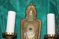 Antique Art Deco Brass Metal Victorian Wall Sconce Light Fixtures-Pair-Portrait