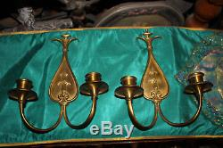 Antique Art Deco Brass Metal Wall Sconce Candle Holders Light Fixtures-Pair