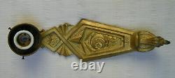 Antique Art Deco Bronze Pair Wall Light Sconce Slag Marbled Vaseline Glass Shade
