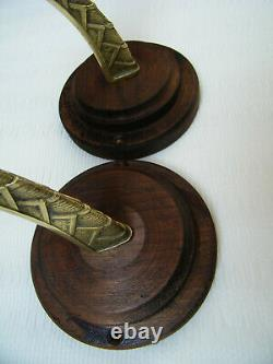 Antique Art Deco Pair Wall Light Sconces Slag Marbled Glass Shades Vintage
