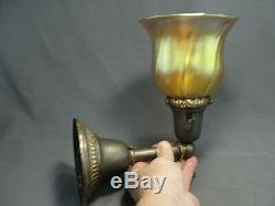 Antique Art Nouveau Brass Wall Sconce Gold Aurene Blossom Shaped Art Glass Shade