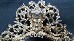 Antique Art Nouveau Ornate Brass Beveled Mirror 3 Candle Wall Sconce