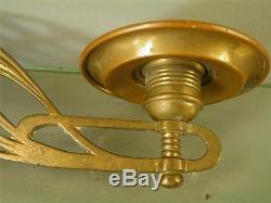 Antique Art Nouveau Ornate Brass Bronze Pair Candle Holder Wall Sconces