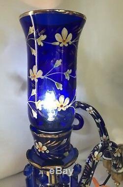 Antique Bohemian Glass Gas Wall Sconce Cobalt Blue & Gold Chandelier FC Osler