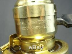 Antique Brass Art Nouveau Era Wall Sconce Light Gold Aurene Signed SAVOY Shade