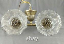 Antique Brass Double Light Wall Sconce EAPG Glass Gas Shades Working Victorian