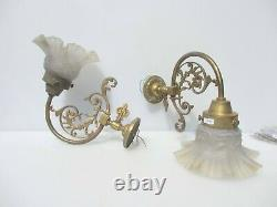 Antique Brass Gas Wall Lights Lamps Old Sconces Leaf Rococo Art Nouveau Shades