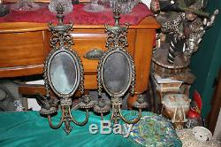 Antique Brass Metal 2 Arm Wall Mounted Candle Holder Sconce WithCenter Mirror-#1