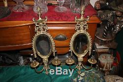 Antique Brass Metal 2 Arm Wall Mounted Sconce Light Fixture WithCenter Mirror-#1