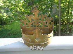 Antique Brass Wall Heart Shelf Sconce Bed Crown Planter Hand Crafted Italy