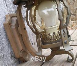 Antique Bronze & Copper Arts & Crafts Exterior Porch Wall Sconce Light Fixture