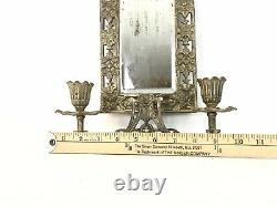 Antique Candle Holder 1800s Ornate Wall Mirror Sconce Gilt Bronze Brass Fixture