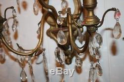 Antique Candle Sconces Gold Finish Glass Prisms Chic Large Wall Mount