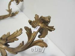 Antique Cast Brass Wall Lights Sconces Gilt Leaf Old Rococo Old Light Victorian