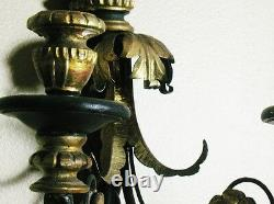 Antique Eagle Topped 32 ITALIAN GILTWOOD Candle Wall Sconce c. 1920 Hand-Carved