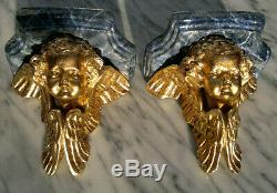 Antique Early 20thC Plaster Cherub Wall Sconces Shelves Faux Marbled Gold Leaf