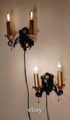 Antique Early American Cast Metal Set Of 2 Wall Sconces Light Fixture