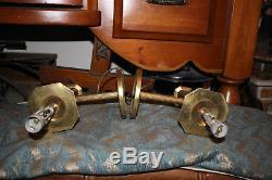 Antique Empire Torch Light Wall Sconces Light Fixtures-Pair-Bronze Brass Metal