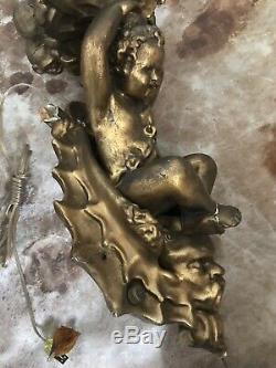Antique Figural 3 lights Candelabra Wall Sconce with Putti Angel Cherub &Northwind