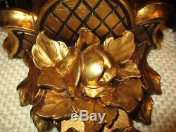 Antique Florentine gilt gold carved wood Wall Shelves Corbel Sconce with roses