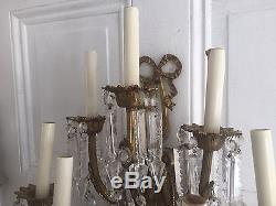 Antique French Empire Crystal Prism Pair Bronze 8 Light Wall Sconces Chandelier