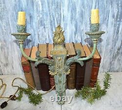 Antique French Empire Flame Gilded Wood Wall Sconce Light Fixture Turquoise
