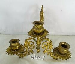 Antique French Gilded Bronze Pair Piano Wall Sconce Candleholders Napoleon III