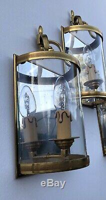 Antique French Gilded Convex Set Of Three Wall Lanterns Sconces Lights